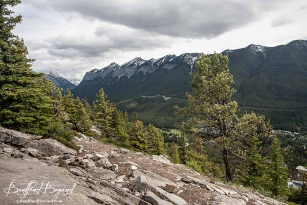 view of bow valley mountain range from the tunnel mountain summit hiking trail