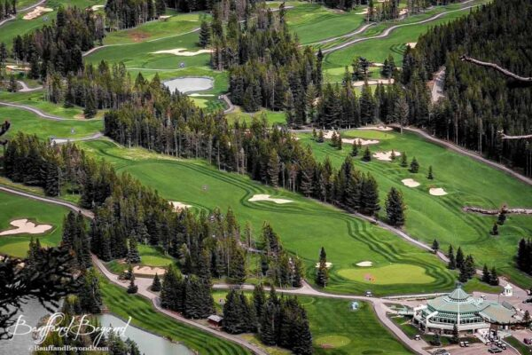 view of fairmont banff springs hotel golf course from tunnel mountain summit trail