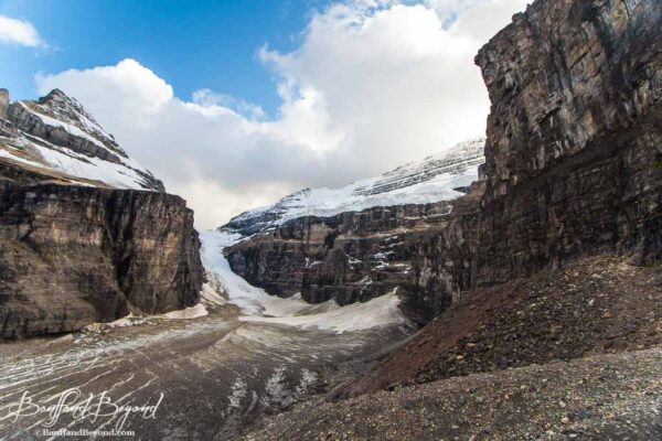 view of victoria glacier and abbots pass