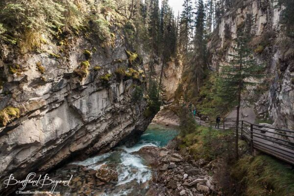 views of cliffs and river in johnston canyon hiking trail
