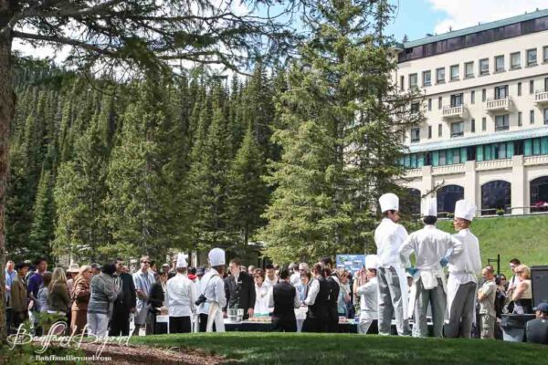 visitors and hotel staff celebrating canada day at lake louise