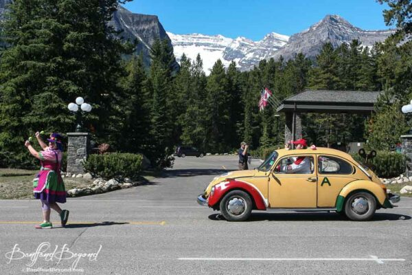 volkswagon clown car in lake louise canada day parade
