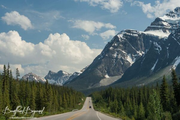 beautiful mountain scenery along the icefields parkway