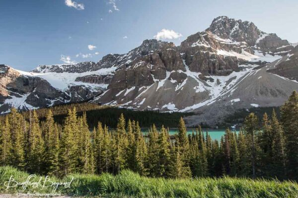 bow lake and glacier along the icefields parkway