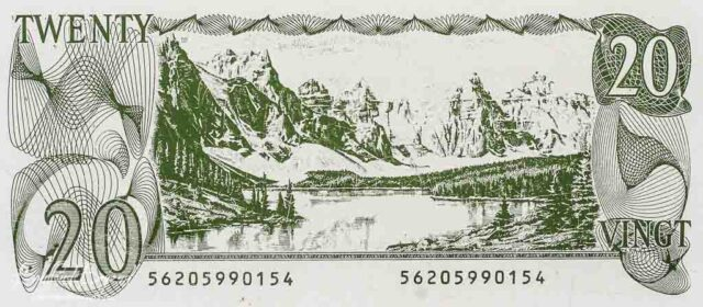 canadian twenty dollar bill with moraine lake and valley of the ten peaks