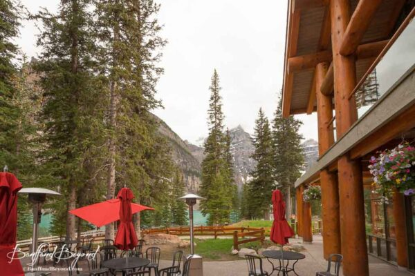 moraine lake lodge outdoor patio with umbrellas