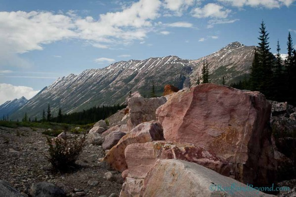 pink-quartzite-rock-unique-attraction-columbia-icefields-parkway