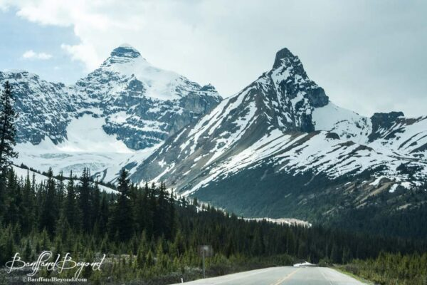 tall mountain peaks on icefields parkway