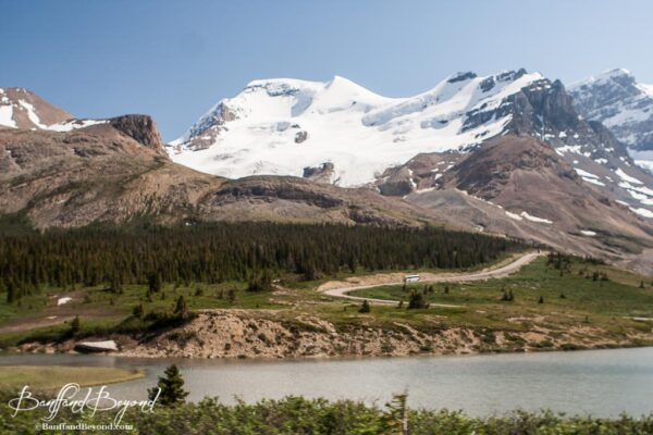 view of columbia icefields along the parkway drive