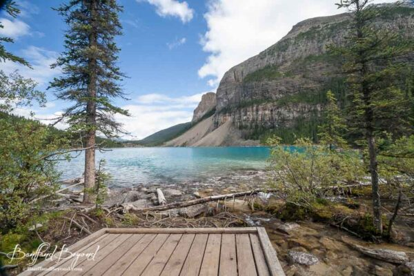 wooden boardwalk at the far end of moraine lake