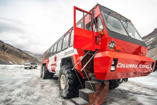 close up of ice explorer on the athabasca glacier