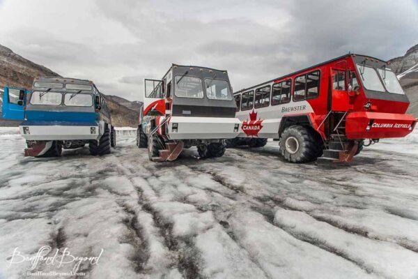 giant ice explorer vehicles on athabasca glacier