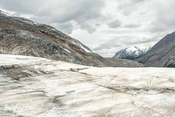 glacier view and mountains on athabasca glacier