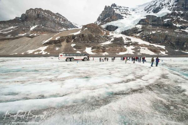 mountains and athabasca glacier view from ice explorer adventure