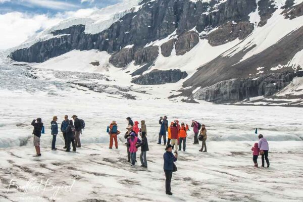 people from the ice explorer advendture standing on athabasca glacier