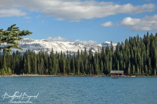 snow-capped-mountain-autumn-fall-season-lake-louise-boat-house-fairmont-chateau-hotel