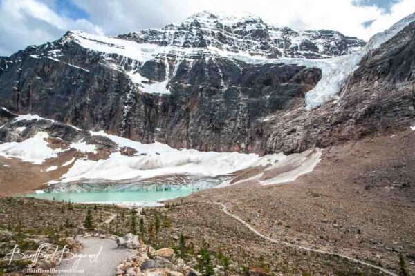 view of cavell pond from the path of the glacier loop trail
