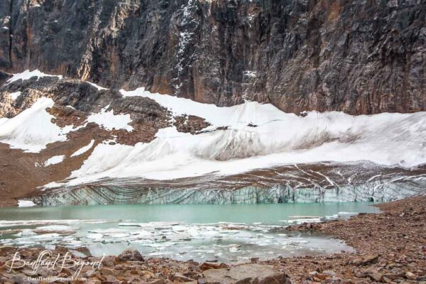 view of the turquoise water of cavell glacier pond