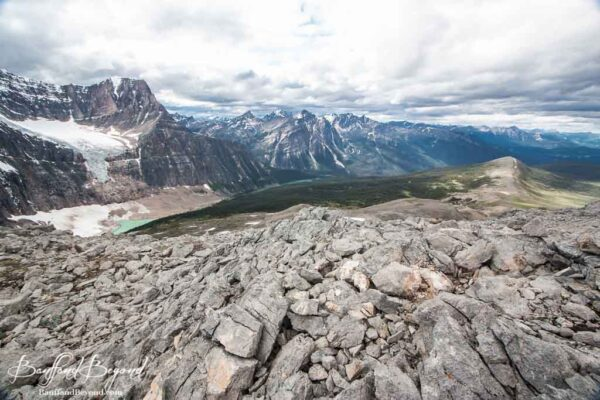 increcible views of edith cavell and angel glacier from the hiking trail