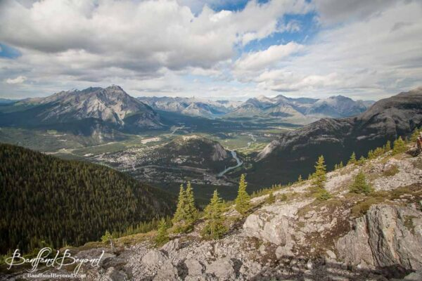 view of banff town from the sulphur mountain gondola
