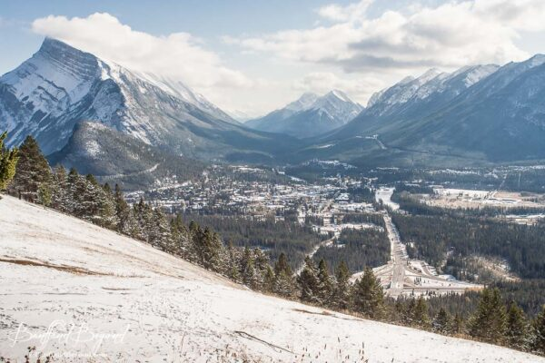 view of banff town from mount norquay road lookout point