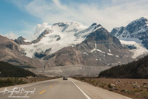 view of glacier from columbia icefields parkway drive