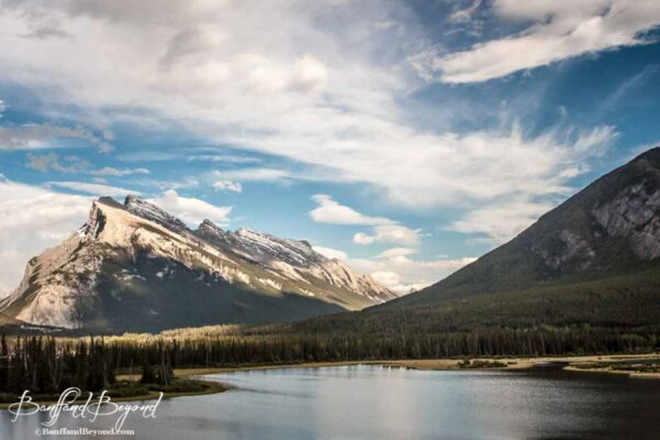 view of mount rundle and vermillion lakes in banff national park