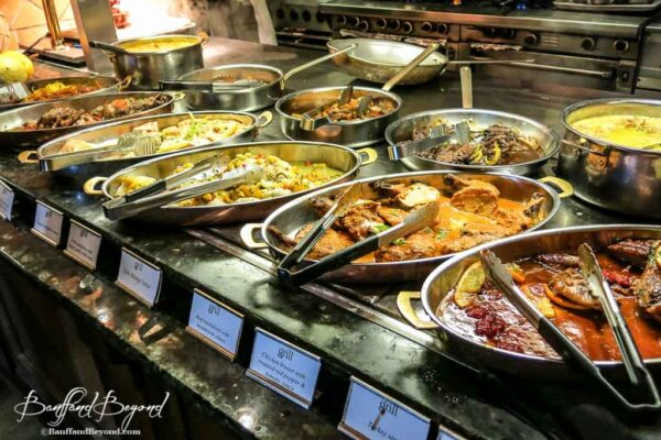 curry meat and fish dishes at the banff springs hotel brunch