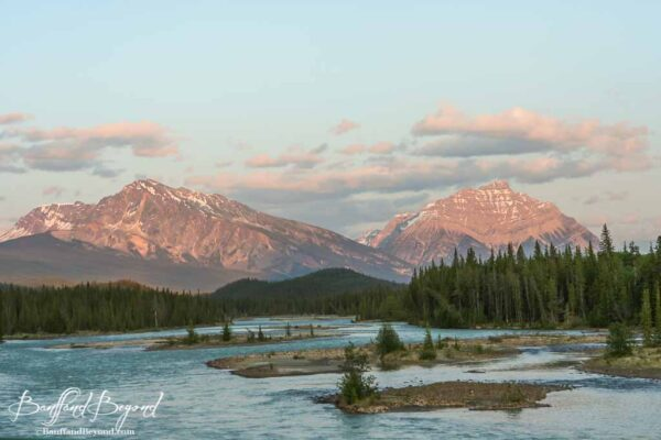 athabasca river and views of mountains in jasper