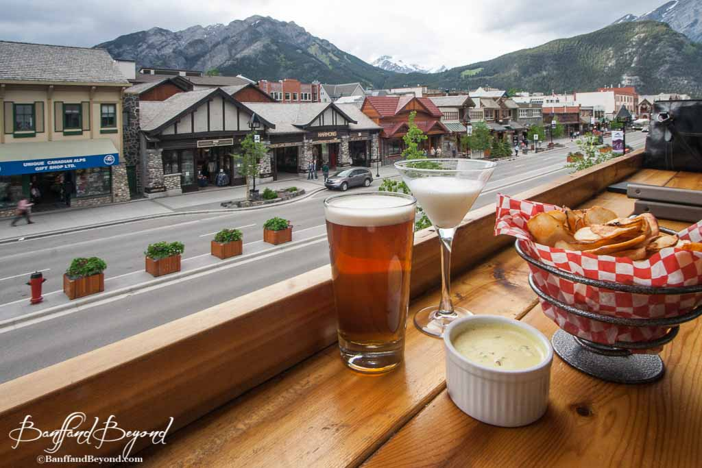 Beer And Chips With Dip At The Banff Brewing Company Restaurant