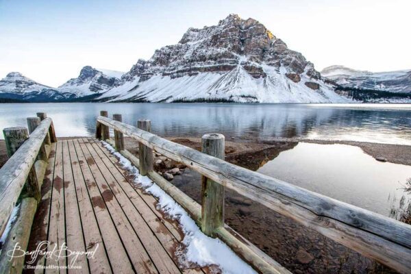 bow lake in winter banff national park