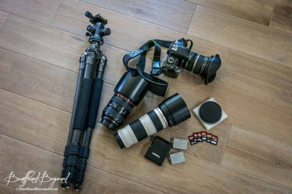 camera equipment and gear for shooting in the canadian rocky mountains