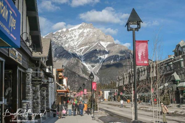 downtown banff avenue street with shops and restaurants