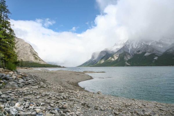 misty day at lake minnewanka