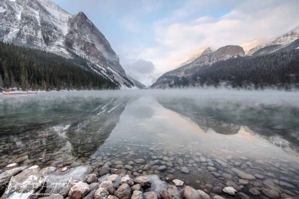 morning mist on lake louise