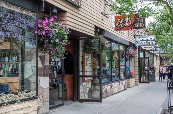 shops on downtown jasper street in the rocky mountains