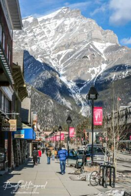 view of banff avenue and cascade mountain