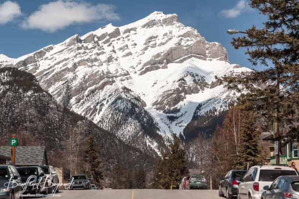 view of cascade mountain from downtown banff