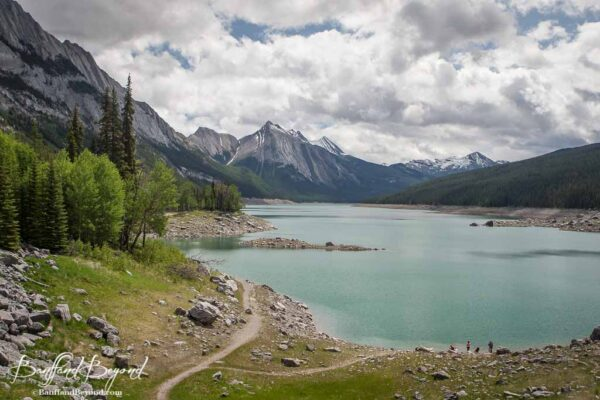 view of medicine lake and mountains in jasper