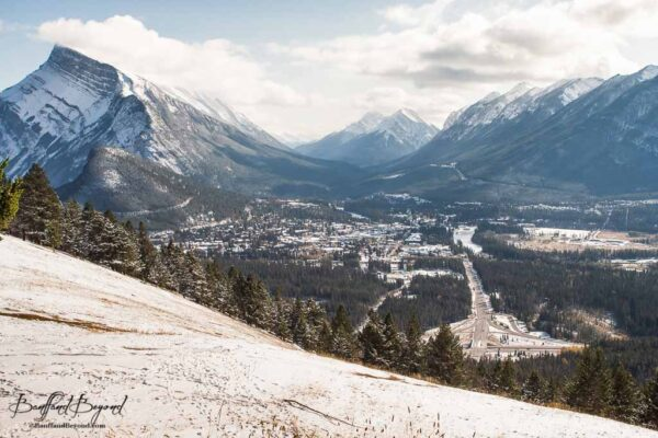 view overlooking banff town from mount norquay lookout