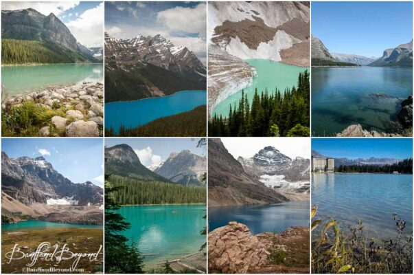 different coloured rocky mountain glacier lakes