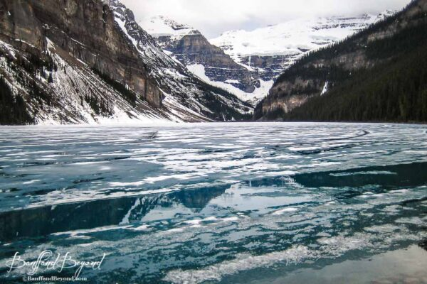 lake louise starting to thaw in the month of May