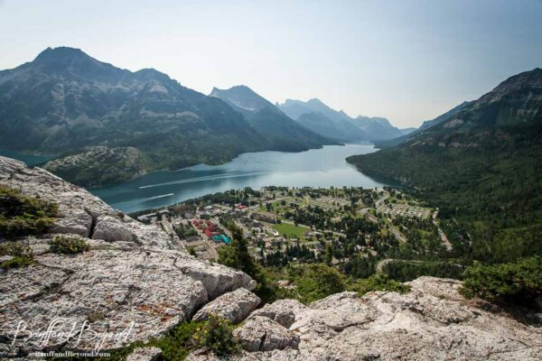 waterton lakes and town viewed from the bear hump trail