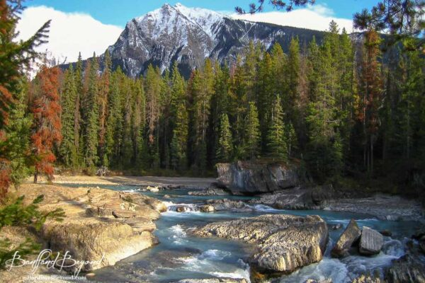 beautiful scenery at the natural bridge in yoho national park