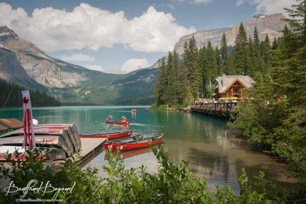 canoe rentals at emerald lake boat dock in yoho national park