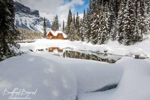 reflections-water-emerald-lake-snow-winter-cilantro-restaurant-yoho-national-park