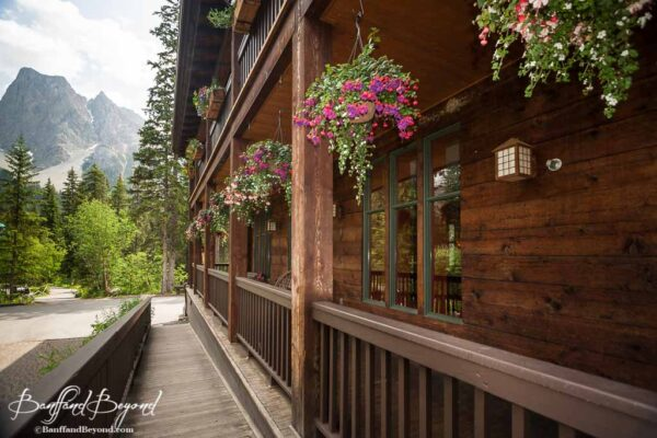 hanging flower baskets at emerald lake lodge