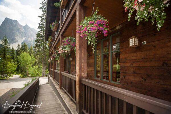 hanging flower baskets at emerald lake lodge