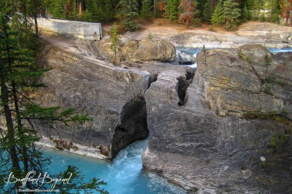 the natural rock bridge over the kicking horse river in yoho national park
