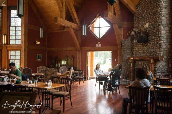wood interior of cilantro restaurant at emerald lake lodge